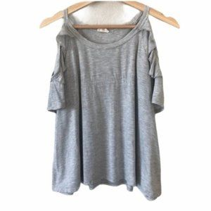 Urban Outfitters Caution to the Wind Cold Shoulder Ruffle Gray Striped T-Shirt L